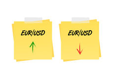 Eur/usd up and down trend Stock Photos
