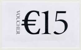 15 EUR voucher Royalty Free Stock Photography