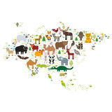 Eurasia animal bison bat fox wolf elk horse cock camel partridge fur seal Walrus goats Polar bear Eagle bull raccoon snake sheep p Royalty Free Stock Photos