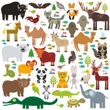 Eurasia animal bison bat fox wolf elk horse cock camel partridge fur seal Walrus goats Polar bear Eagle bull raccoon snake sheep p Stock Photo