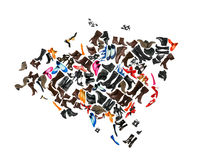 Eurasia continent made of  shoes Stock Images