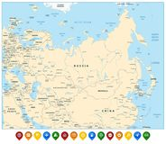 Free Eurasia Detailed Map And Colorful Map Pointers. Stock Photos - 112300653