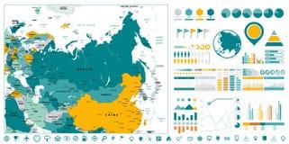 Eurasia Detailed Map and Infographics design elements. On white stock illustration