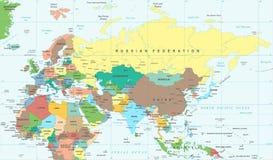 Eurasia Europa Russia China India Indonesia Thailand Africa Map - Vector Illustration. Eurasia Europa Russia China India Indonesia Thailand Africa Map - Detailed vector illustration