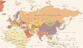 Eurasia Europa Russia China India Indonesia Thailand Map - Vector Illustration Royalty Free Stock Image