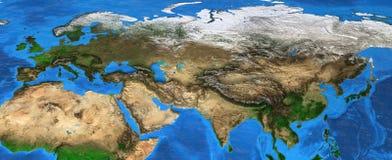 Eurasia - hög upplösningsöversikt av Europa och Asien royaltyfri fotografi