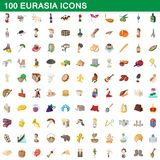 100 eurasia icons set, cartoon style. 100 eurasia icons set in cartoon style for any design illustration vector illustration