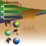 Eurasia map on brown background vector. Eurasia map with shadow on brown background with world globes vector Royalty Free Stock Photos