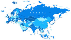 Eurasia - map - illustration. Stock Image