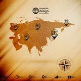 Eurasia map, wooden design background, Stock Photos
