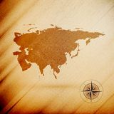 Eurasia map, wooden design background, vector Royalty Free Stock Photography