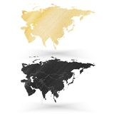 Eurasia map, wooden design texture, vector Stock Photos