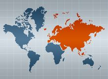 Eurasia on map of the world Royalty Free Stock Photo