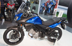Eurasia Moto Bike Expo. ISTANBUL, TURKEY - FEBRUARY 28, 2015: A Suzuki motorbike in Eurasia Moto Bike Expo in Istanbul Expo Center Royalty Free Stock Image