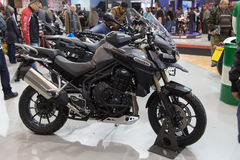 Eurasia Moto Bike Expo. ISTANBUL, TURKEY - FEBRUARY 28, 2015: Triumph Tiger 1200 Explorer in Eurasia Moto Bike Expo in Istanbul Expo Center Royalty Free Stock Photos