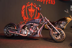 Eurasia Moto Bike Expo. ISTANBUL, TURKEY - MARCH 01, 2015: TT Custom Choppers motorcycle in Eurasia Moto Bike Expo in Istanbul Expo Center Royalty Free Stock Photo
