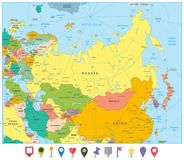 Free Eurasia Political Map And Flat Map Pointers Royalty Free Stock Photography - 112359147