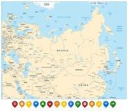Eurasia wyszczególniał mapę i kolorowych mapa pointerów Zdjęcia Stock
