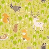 Eurasian animals seamless pattern Royalty Free Stock Images