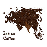 Eurasian continent made from coffee beans with highlighted India. Indian coffee lettering. Stock Image