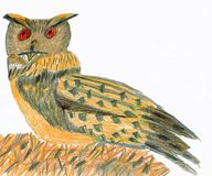 Eurasian Eagle-Owl - Bubo bubo - Crayons Drawing. An Eurasian eagle-owl. The owl sits on a brown ground in the forest. It is an hand drawn drawing. The Royalty Free Stock Photos