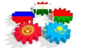 Eurasian Economic Community members national flags on gears Royalty Free Stock Images