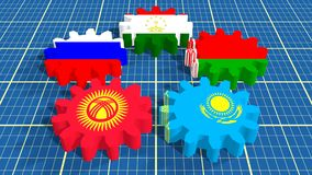 Eurasian Economic Community members national flags on gears Royalty Free Stock Photo