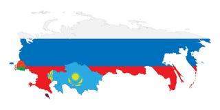 Eurasian Economic Union 1. Vector illustration. Schematic map of the member states of Eurasian Economic Union (EAU). National flags  Russia, Belarus, Kazakhstan Stock Photos