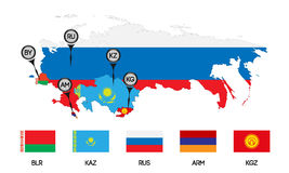Eurasian Economic Union 3. Vector. Template for infographics. Schematic map of the member states of the Eurasian Economic Union. Flags and abbreviations Russia Royalty Free Stock Photography