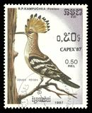 Eurasian Hoopoe, Upupa epops. Cambodia - stamp printed 1987, Multicolor Memorable issue of offset printing, Topic Birds and Philatelic Exhibitions, Series Capex Royalty Free Stock Image