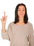 eureka Kvinna med en idé som lyfter hennes finger Royaltyfria Bilder