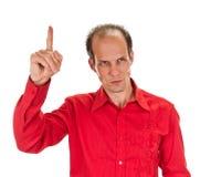 eureka Man med en idé som lyfter hans finger Arkivfoton