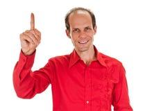 eureka Man med en idé som lyfter hans finger Fotografering för Bildbyråer