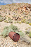 The Eureka Mine. Old rusted Barrel at Eureka Mine in Death Valley National Park, USA Royalty Free Stock Image