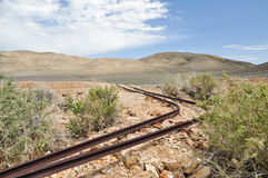 The Eureka Mine. Old rusted train tracks at Eureka Mine in Death Valley National Park, USA Stock Image