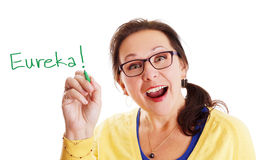 Eureka moment. Woman with glasses having a Eureka big and bright idea moment Stock Photography
