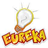 Eureka sticker. Eureka word and light bulb on white background Stock Photography
