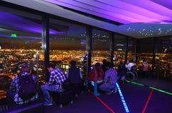 Eureka Tower Observation Deck (Eureka Skydeck 88) - Melbourne. MELBOURNE - APR 13 2014:Visitors at Eureka Tower observation deck (Eureka Skydeck 88), the highest Royalty Free Stock Photography