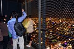Eureka Tower Observation Deck (Eureka Skydeck 88) - Melbourne. MELBOURNE - APR 13 2014:Visitors at Eureka Tower observation deck (Eureka Skydeck 88), the highest Royalty Free Stock Photos