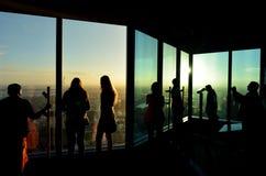 Eureka Tower Observation Deck (Eureka Skydeck 88) - Melbourne. MELBOURNE - APR 13 2014:Visitors at Eureka Tower observation deck (Eureka Skydeck 88), the highest Stock Photo