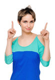Eureka. Woman with an idea raising her finger Royalty Free Stock Photos