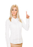 Eureka. Woman with an idea raising her finger Stock Photo