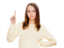 Eureka. Woman with an idea raising her finger Stock Photography