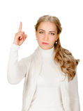 Eureka. Woman with an idea raising her finger Royalty Free Stock Image