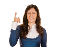 Eureka. Woman with an idea raising her finger Stock Photos
