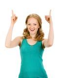 Eureka. Woman with an idea raising her finger Stock Image