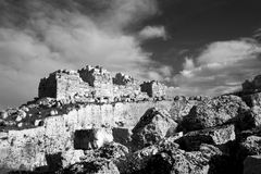 Eurialo Greek Castle. The ancient ruin of the Eurialo Greek Castle royalty free stock photos