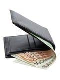 Euro är i svart plånbok Royaltyfri Foto