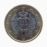 Euro één & x28; EUR& x29; muntstuk van San Marino Stock Fotografie