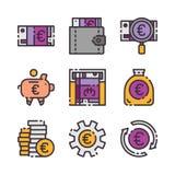 9 euro- ícones do vetor ajustados O vetor colore ícones fotos de stock royalty free